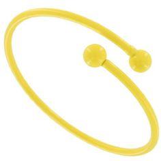 "Yellow Enamel Metal Bangle Bracelet Coil Spiral Tube Vintage 1970s USA. $12.95. Enamel Over Metal. Color: Yellow. Vintage 1970s. Spiral Bangle. Interior Diameter: 2 5/8"" Width: 1/8"""