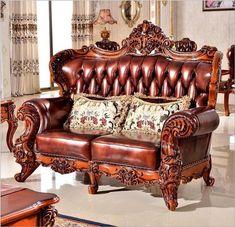 high quality European antique living room sofa furniture genuine leather set 1068 Building Furniture, Sofa Furniture, Furniture Manufacturers, Furniture Companies, Living Room Sofa, Living Room Furniture, Antique Living Rooms, Leather Sofa Set, Quality Furniture