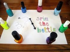 Sleepover ideas- nail polish spin the bottle! At the end, the one witj the most nails painted the same color wins!