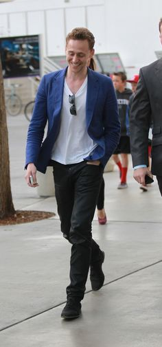 Tom Hiddleston goes to the Clippers game at the Staples Center in Los Angeles, CA on April 22, 2013
