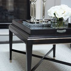 Styling a great vignette for your side table. Black tray on black table.