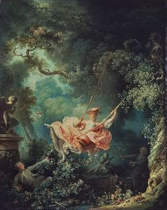 Fragonard, 'The Swing' (1767)  It can be found in the Oval Drawing Room at the Wallace Collection.  'The Swing' is Fragonard's best-known painting, encapsulating for many the finesse, humour and joie de vivre of the Rococo.