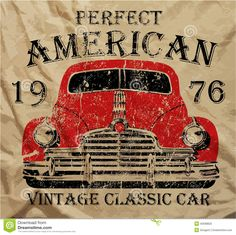 6d7283300 Art Print: Old American Car Vintage Classic Retro Man T Shirt Graphic  Design by emeget :
