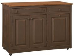 Amish Pine Wood Delta Kitchen Island - Maple Top