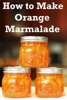 How to Make Orange Marmalade 4-5 sliced oranges made 6 half pint jars, boil hard for 30 minutes, add sugar boil hard 20 minutes, add sure gel process.