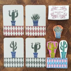 The finished cactus cards that I've made with my newly carved checkered rubber…