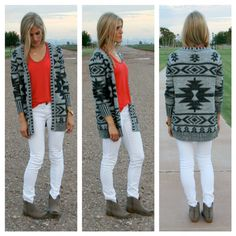 Black & Grey Aztec Sweater-Black aztec sweater-NEED this!