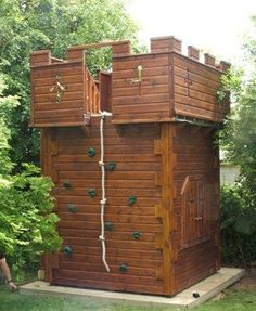 Castle With Climbing Wall – Project code: Schloss mit Kletterwand – Projektcode: Backyard Playground, Backyard For Kids, Children Playground, Backyard Ideas, Garden Kids, Natural Playground, Playground Ideas, Playground Design, Backyard Landscaping