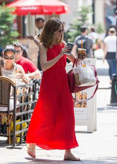 Olivia Palermo in Red Long Dress Out in New York - June 2017