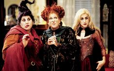 Bette Midler, Sarah Jessica Parker, and Kathy Najimy in Hocus Pocus Hocus Pocus Cast, Hocus Pocus Sequel, Hocus Pocus 1993, Max Hocus Pocus, Hocus Pocus Sisters, Max Dennison, Halloween Film, Halloween Costumes, Classic Halloween Movies