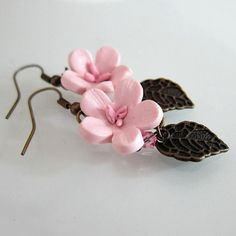 Cherry Blossom Earrings Polymer Clay by beadscraftz on Etsy, $18.00