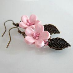 Zarcillos de flores de cerezo en arcilla polimérica / polymer clay