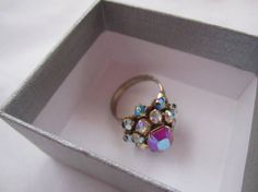 Beautiful Vintage Ring rare AB raspberry rhinestones adjustable ring 1960s rings PAT PEND Vintage Ring Bague  Size 7-9 by LAmourDAntique Newly listed Vintage Fashion