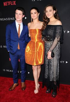 "Selena Gomez with Dylan Minnette and Katherine Langford at the premiere of her Netflix show ""13 Reasons Why"""