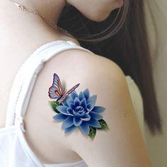 2017 New style tatoo henna fake tattoo flash tatto temporary tattoo sticker men TaTy tatuagem tattoos Butterfly Tattoos Images, Butterfly With Flowers Tattoo, Butterfly Tattoo On Shoulder, Flower Tattoo Designs, Tattoo Images, Lotus Flower, Tattoo Shoulder, Blue Butterfly, 3d Flower Tattoos