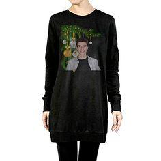 c538bb146 Amazon.com  Newbee Christmas Lady s Long Sleeve Raglan Crewneck Sweatshirt  Dress L  Sports   Outdoors