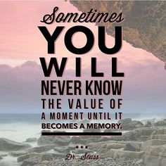 """""""Sometimes you will never know the value of a moment until it becomes a memory.""""- Dr. Seus  ... designed by @createpositivitydaily ... Share your #quotableswag for a chance to be featured and tag @wordswag #memories #moments by wordswag"""