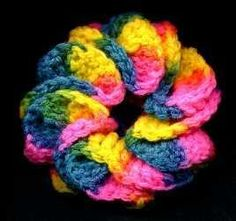#haken, gratis patroon (Engels), haarelastiek, #crochet, free pattern, hair, scrunchie