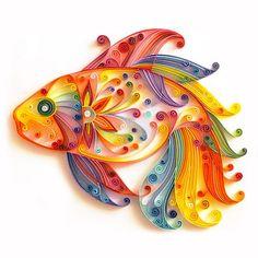 Golden Fish in Water Quilling Paper. DIY Gift!