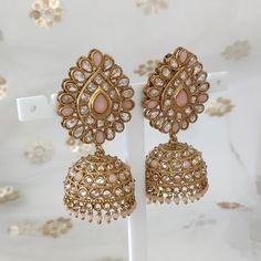 Jhumki Earrings, Indian Earrings, Dangle Earrings, Cute Jewelry, Dusty Pink, Antique Gold, Different Colors, Desi, Dangles