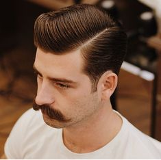 Classic haircut by Temka MWB for Mustache Brother / Barbershop Product Schmiere Dr. Handlebar Mustache, Beard No Mustache, Cool Haircuts, Haircuts For Men, Hair And Beard Styles, Long Hair Styles, Hair Trends 2015, Hair Balm, Classic Haircut