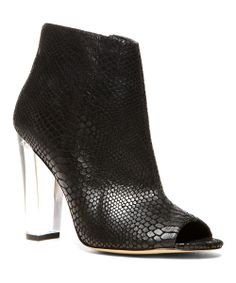 Black Snakeskin Majestic Open-Toe Ankle Boot | Daily deals for moms, babies and kids
