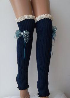 Navy blue Leg warmersPolka dot ribbon bowLace trim by CarnavalShop