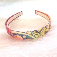 Batik Headband - Abstract, Bold Cotton Print Hairband, large floral print headband, red pink purple hairband, summer cotton hairband, batik cotton print