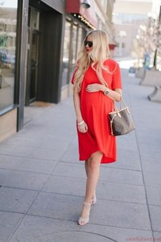 Maternity clothing red dress