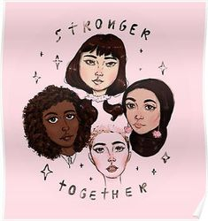 Stronger Together Framed Art Print by Nevhada - Vector Black - Feminist Af, Feminist Quotes, Feminist Apparel, Smash The Patriarchy, Intersectional Feminism, Isagenix, Powerful Women, Ladies Day, Women Empowerment