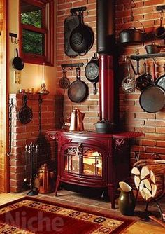 Niche Corporation: Wood-burning stoves, Vermont castings / Encore (red) fireplace and wood stove shop - Purchase now to accumulate reedemable points! Wood, Vintage Stoves, Home, Cabin Decor, House Interior, Kitchen Stove Design, Fireplace, Wood Stove Fireplace, Rustic House