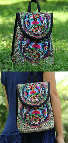 Embroidery Mini Backpack is now available at $32 from Pasaboho. This Bag exhibits brilliant colours with ethnic embroidered patterns. Inspired by the Boho Chic Fashion Style.