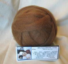 Carded Roving Wool Felting Spinning Craft Needle VK2013 Dark Brown Chocolate