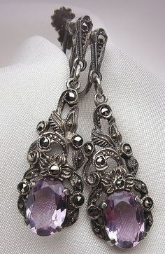 These Art Deco amethyst drop earrings are truly elegant; the perfect soft color for your perfect day.