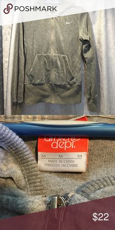 Nike velour zip up Grey Nike velour zip up in Mint condition Nike Sweaters