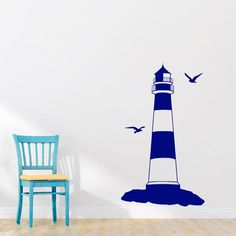 Wall Decal, Lighthouse, Nautical Decal, Bedroom Stickers, Light House Decal, Ocean, Seaside, Seashore, Living Room Decal