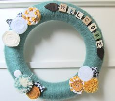 Yarn Wreath. these are great ideas. still have to make at least 1