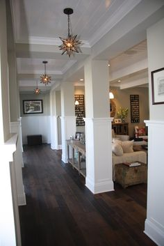 reclaimed barn wood floors. I like the layout with the entrance hall open to the great room & fun lighting