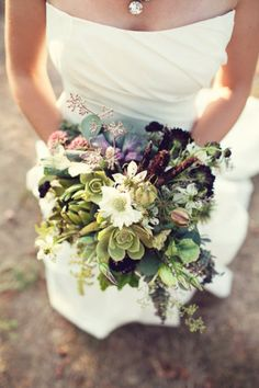 white and green natural bouquet with purple accents