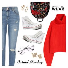 """""""Casual Monday"""" by dressedbyrose ❤ liked on Polyvore featuring River Island, Converse, New Look and Betsey Johnson"""