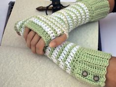 mint and white crochet button wrist warmers, arm warmers, fingerless gloves mittens in a longer size from ValkinThreads on Etsy. Crochet Wrist Warmers, Crochet Mitts, Crochet Gloves Pattern, Crochet Buttons, Hand Warmers, Crochet Patterns, Mint, Love Crochet, Crochet Accessories