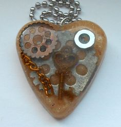 Steam Punk Cream Heart Pendant  FREE SHIPPING by designsbyfelisa, $9.99