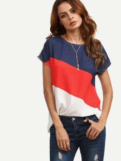Blouse manche courte color block -French SheIn(Sheinside)