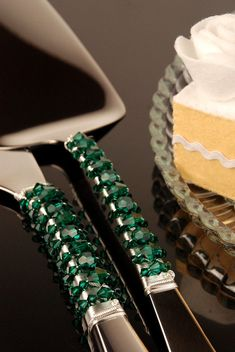SWAROVSKI-Emerald Green Wedding cake server and knife set by TheVintageWedding, $89.99