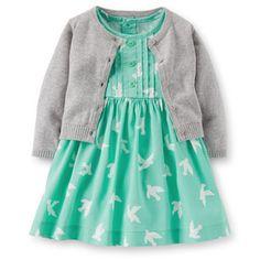 Conjunto 2 Piezas Vestido Turquesa Palomas Carters - Bebitos $649 #carters #niña #ropa #moda