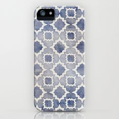 Worn & Faded Navy Denim Moroccan Pattern in grey blue & white iPhone & iPod Case by micklyn - $35.00