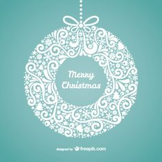 Merry Christmas in hanging wreath form, with snowflakes, trees, and swirls. Teal color. Office party and invitations.