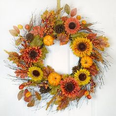 """34"""" Sunflower Berry Fall Door Wreath - Autumn Door Wreath - WR4810. An extra large wreath perfect size for over a mantel. Decorated with gorgeous sunflowers, berries, fall leaves,  pine cones - created on a spiral vine base 34'' W"""