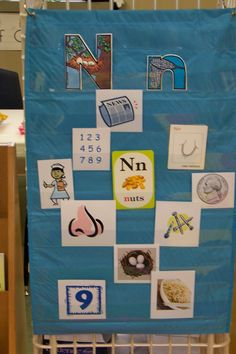 "For the letter of the week, use a pocket chart to put pictures of things beginning with that letter. Great reference for the kids when asked, ""What is something that begins with the letter...?"""