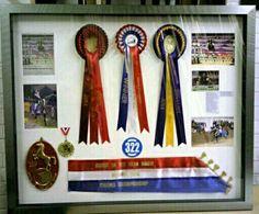 Lots of horse memorabilia in a deep rebated frame.
